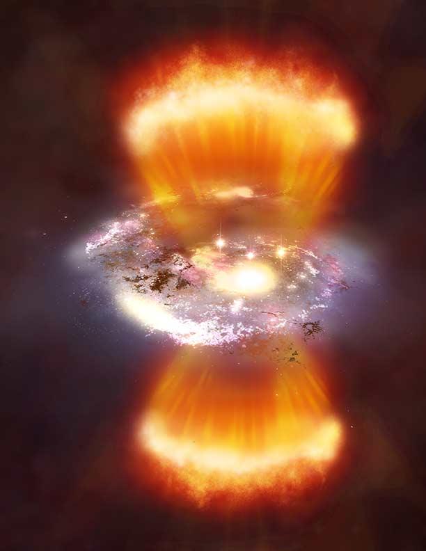 A imagem ilustrada mostra uma das galáxias ativas dentro da bolha cósmica, com os braços espirais em amarelo e branco, e os dois jatos de energia irradiados pelo buraco negro supermassivo no coração da galáxia, mostrados em tons alaranjados. Crédito: NASA/CXC/M.Weiss