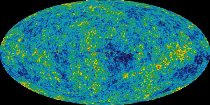 Esta visão detalhada de todo o céu mostra o jovem Universo a partir de 5 anos de pesquisa via WMAP. A imagem revela flutuações em torno da temperatura média do Universo de 2,725 +/- 0,0002 Kelvin (aparece nas diferenças de cor) que correspondem às sementes que cresceram para se tornarem nas galáxias. O ruído causado pela Via Láctea foi subtraído dessa imagem usando dados de várias freqüências. A imagem mostra um intervalo de temperatura de +/- 200 microKelvin (0,0002 graus K), as regiões vermelhas são as áreas mais quentes no céu e as azuis mais frias. Crédito: NASA / time do WMAP