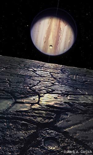 Uma noite na lua Europa (Júpiter) por Mark A. Garlick