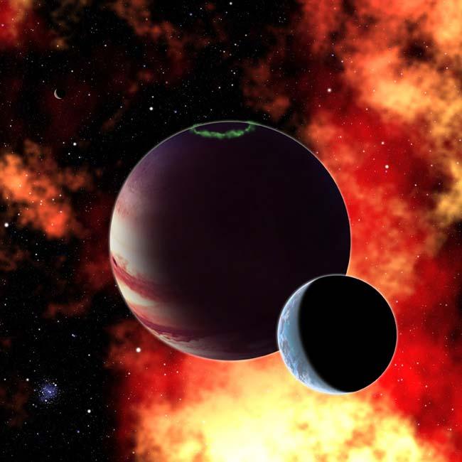 Nesta concepção artística vemos um planeta gigante hipotético com uma lua 'tipo-Terra' similar a exolua Pandora do filme Avatar. Pesquisas recentes mostram que se econtrarmos tal exolua na zona habitável de uma estrela próxima, o telescópio James Webb Space Telescope será capaz de estudar sua atmosfera e detectar gases importantes para a vida tais como o dióxido de carbono, o metano, o vapor d'-água e o oxigênio. Crédito: David A. Aguilar, CfA