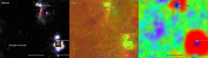 Usando a ferramenta Google Sky para consultar as pesquisas óticas, de infravermelho (IRAS) e de microondas (WMAP). Nota-se aqui que a anomalia não aparece nem em infravermelho nem para micro-ondas...