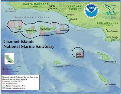 Este mapa mostra as Ilhas do Canal da Califórnia. As ilhas marcadas com círculos foram antes uma só massa de terra unida.