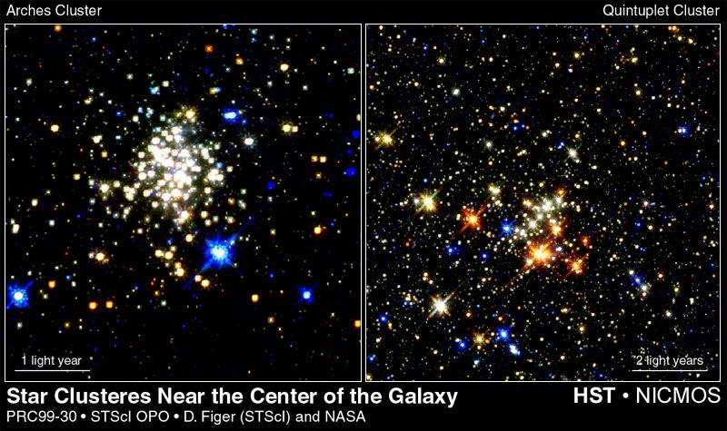 Aglomerados estelares próximos ao Centro da Via Láctea. Crédito: Hubble Space Telescope