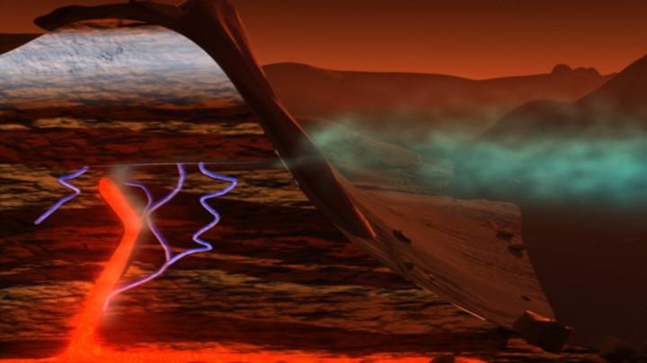 """Os cientistas ainda não sabem o suficiente para dizer com certeza qual é a fonte do metano em Marte. Nesta ilustração, a água subsuperficial, o dióxido de carbono e o aquecimento interno do planeta Marte se combinam para libertar metano. Embora não tenhamos evidências da haver atividade vulcânica atual em Marte, metano aprisionado em """"gaiolas de gelo"""" poderá ter sido liberado. Crédito: NASA/Susan Twardy"""