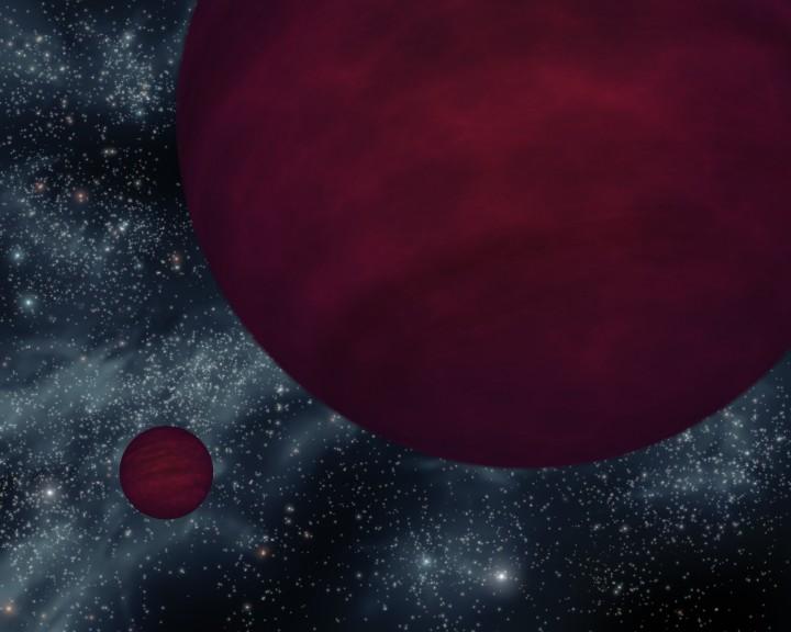 Esta concepção artística mostra os corpos estelares mais tênues conhecidos atualmente: as anãs marrons gêmeas conhecidas como 2M 0939. Crédito da imagem: NASA/JPL-Caltech
