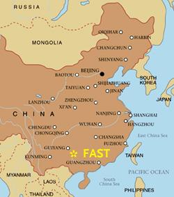 Localização do radiotelescópio FAST na China