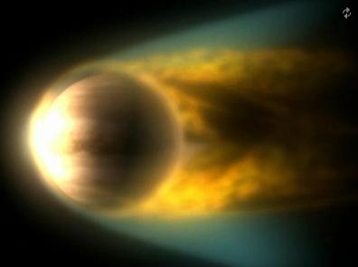 Atmosfera de Vênus, sofrendo erosão pelo vento Solar. Vênus perdeu grandes quantidades de água para o espaço.