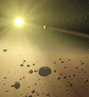 Mistério resolvido? O cinturão de asteróides é um anel de objetos rochosos entre Júpiter e Marte. Estima-se que ele foi criado pela interferência massiva de Júpiter que tornou a área extremamente instável para permitir a formação de um planeta nessa região.