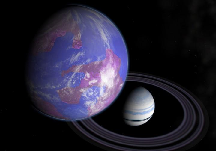Impressão artística (crédito: Andy McLatchie) de uma exolua habitável orbitando um exoplaneta. Poderá a flutuação orbital de um exoplaneta ajudar os astrônomos a achar exoluas?
