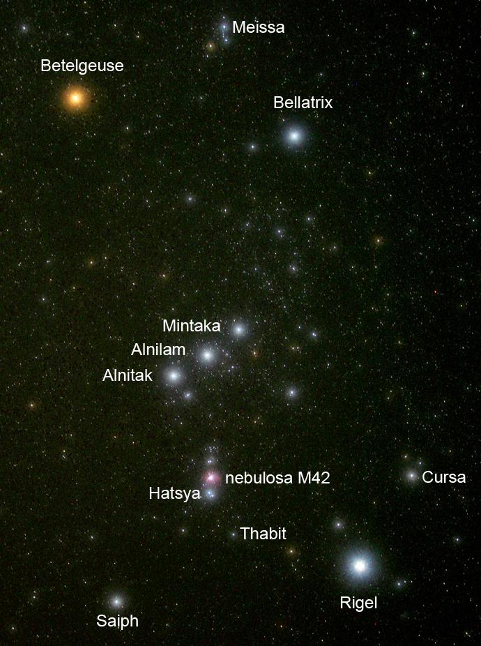 A constelação de Órion onde inserimos os nomes das estrelas e nebulosas. A M42 é a nebulosa de Órion que o VISTA fotografou.