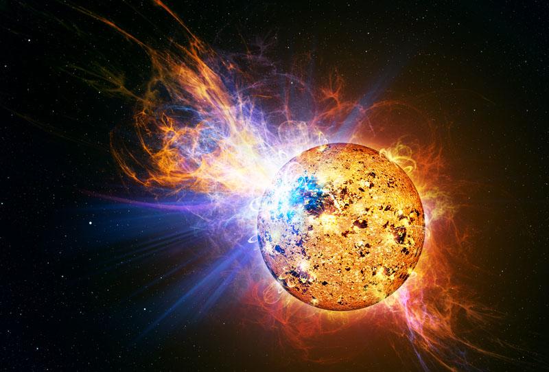 Estrela em erupção (solar flare).