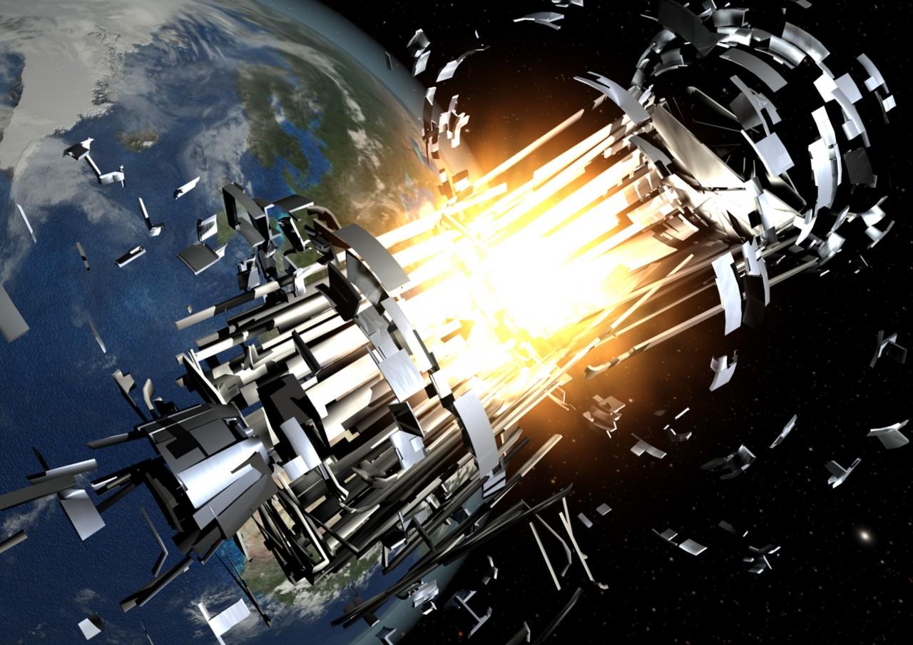 Concepção artística de uma explosão de foguete gerando uma nuvem de detritos