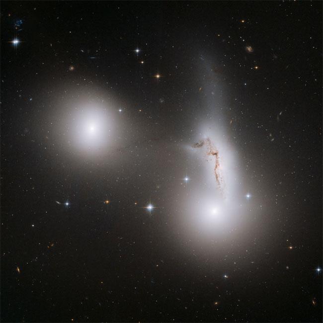 Imagem do Hubble: as 3 galáxias - NGC 7173 (no meio, à esquerda), NGC 7174 (no meio, à direita), e NGC 7176 (abaixo, à direita) - brigam entre si, arrastando um número de estrelas para fora de suas galáxias originais. Crédito: NASA, ESA and R. Sharples (University of Durham, U.K.)