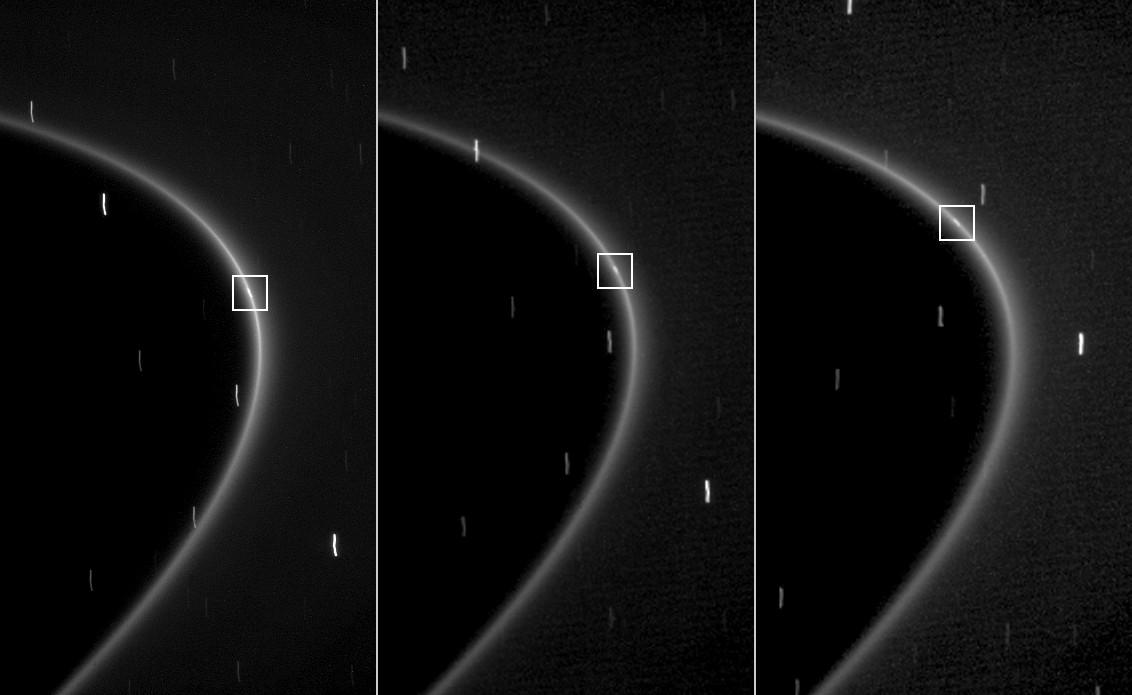 Esta seqüência de 3 imagens, obtida pela Cassini em 10 minutos, mostra a trajetória do recém descoberto satélite no arco existente no anel G de Saturno. Crédito: NASA/JPL/Space Science Institute
