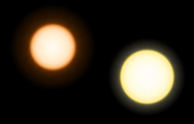 Comparação do tamanho e cor de Épsilon Eridani e o Sol (à direita)