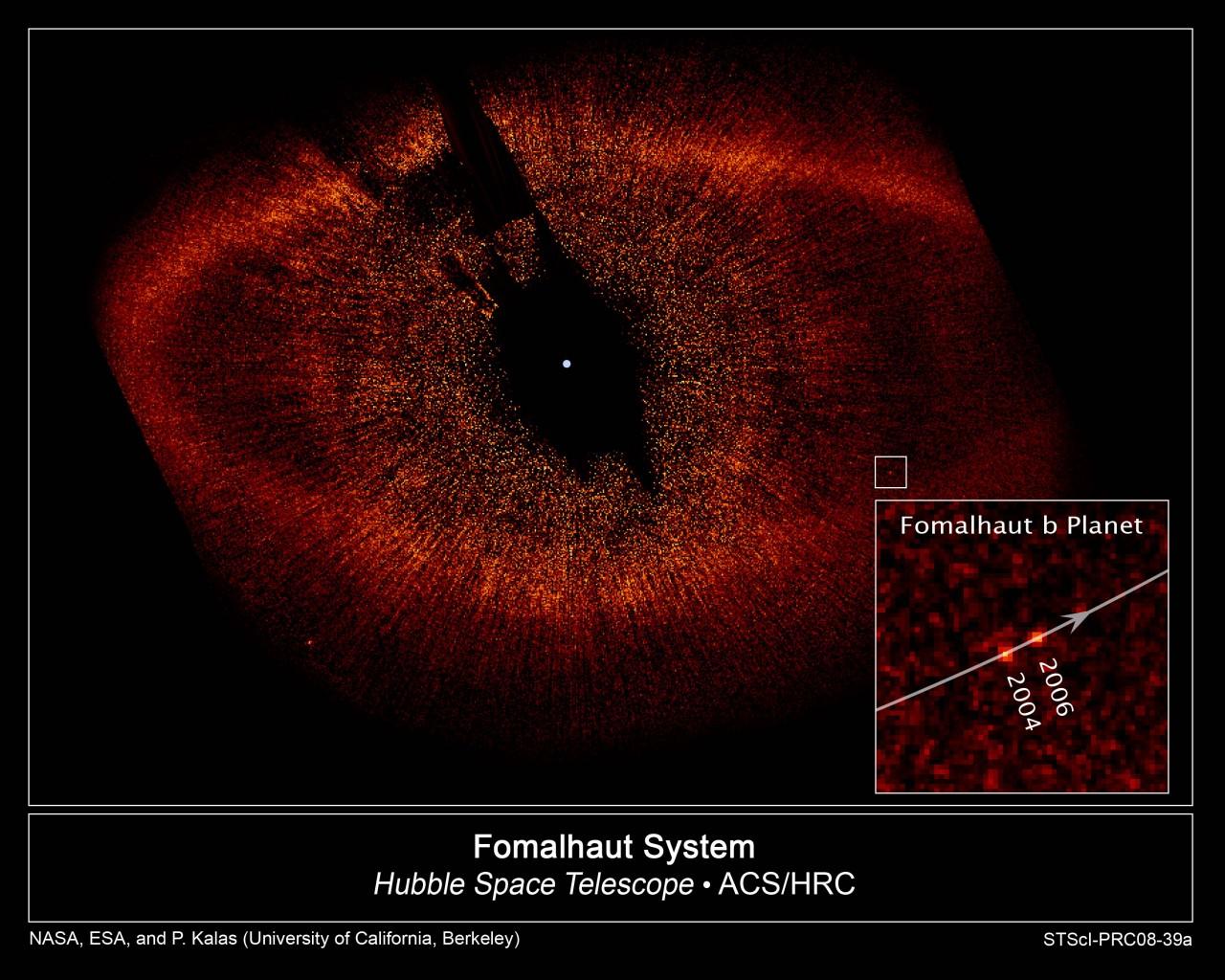 Fomalhaut b foi capturado pela câmera do telescópio Hubble - crédito NASA, ESA, P. Kalas (clique na imagem para ter acesso a versão de alta resolução em nossa galeria de imagens)