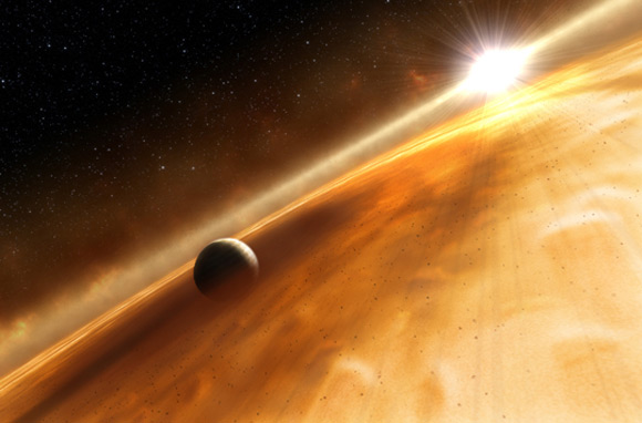 Concepção artística do exoplaneta Fomalhaut b