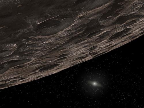 Concepção artística de um objeto do Cinturão de Kuiper (KBO), um anel de asteróides de detritos congelados que se estende além a órbita de Netuno. Imagem: T Pyle (SSC) / JPL-Caltech / NASA