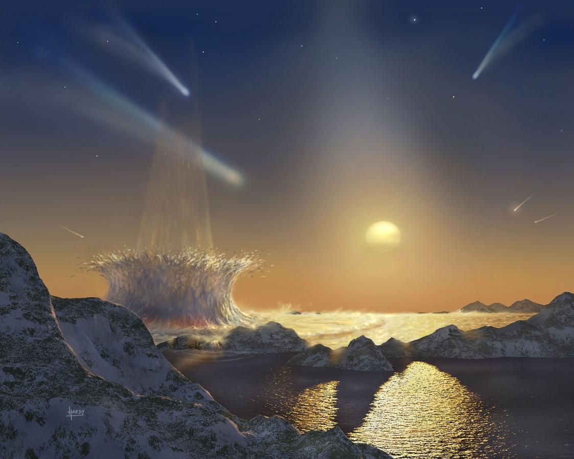 Impressão artística de um planeta esterilizado pelo contínuo bombardeio de cometas e meteoros. Crédito: David Hardy em