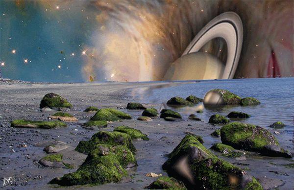 Uma lua extrasolar ou exolua oceânica orbitando um exoplaneta gigante gasoso. Crédito: Ray Lustig {3}