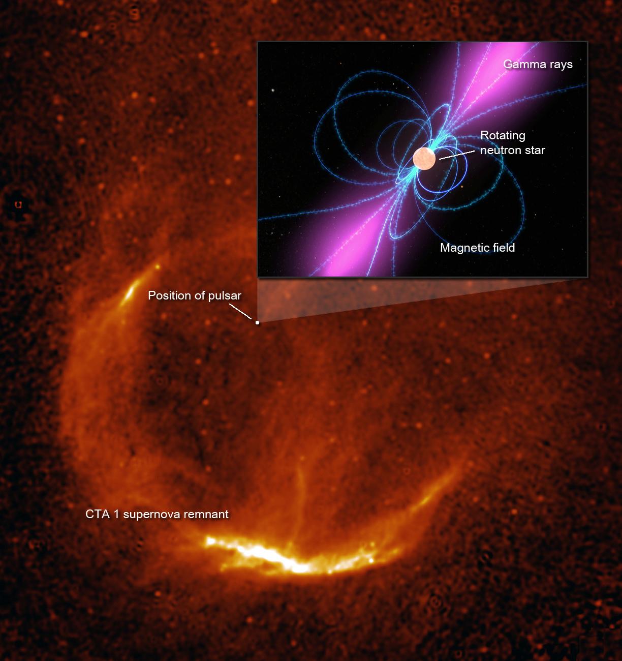 O telescópio espacial Fermi revelou a estrela de nêutrons na remanescente de supernova CTA-1. Crédito: NASA, S. Pineault (DRAO) {1}