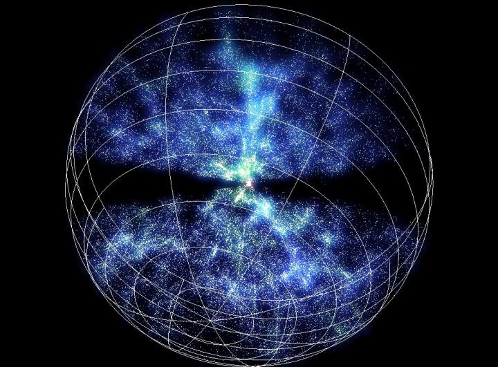 6dFGS - Cada ponto branco na imagem representa uma galáxia. O censo cósmico mapeou mais de 110.000 galáxias. As faixas em negro correspondem a área impossível de mapear relativa ao céu ocupado pela nossa galáxia, a Via Láctea. (www.aao.gov.au/local/www/6df/)