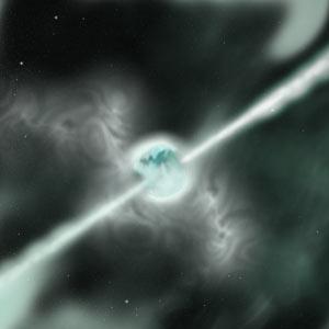 GRB - concepção artística de uma explosão de raios gama. Crédito:UC Berkeley