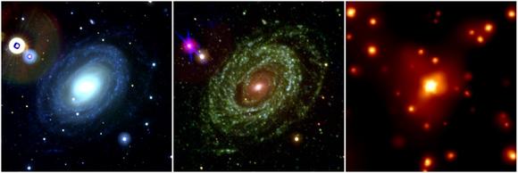 A Supernova 2005ke tipo Ia é mostrada aqui nos comprimentos de onda do espectro visível (à esquerda), espectro ultravioleta (no centro) e na faixa de freqüências dos raios-X (à direita). Esta foi a primeira foto na faixa do espectro dos raios-X de uma supernova tipo Ia e tal imagem trouxe as evidências que essa supernova foi criada pela explosão de uma anã-branca orbitando uma gigante vermelha. Crédito: NASA/Swift/S. Immler