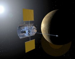 Concepção artística da sonda Messenger. Crédito: NASA