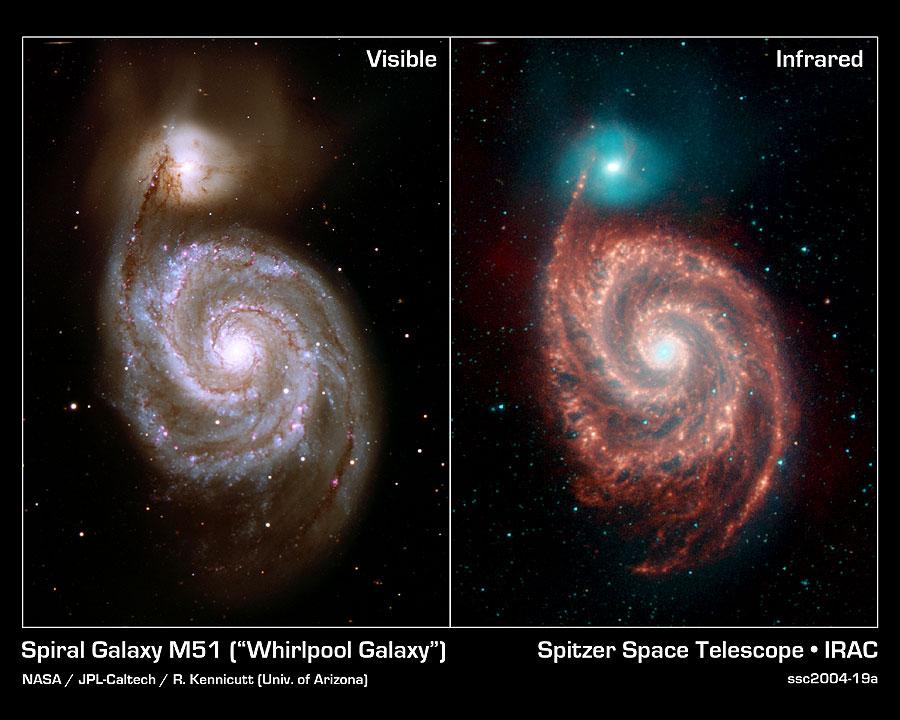 M51 no espectro visível e em infravermelho 3,6 microns (azul), 4,5 microns (verde), 5,8 microns (laranja) and 8,0 microns (vermelho)