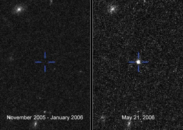 O objeto responsável pela explosão brilhante misteriosa era muito tênue e não havia sido detectado antes (à esquerda: observações de maio de 2006, à direita a supernova observada). Crédito: Barbary et al. (*)