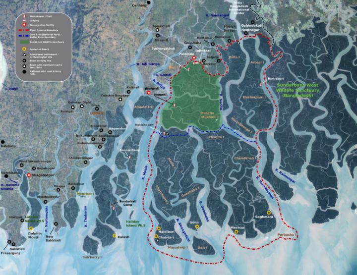 Mapa do delta do Ganges, destacando o santuário ecológico de Sundarbans em verde escuro. A parte indiana está marcada. A parte de Bangladesh fica à direita do mapa.