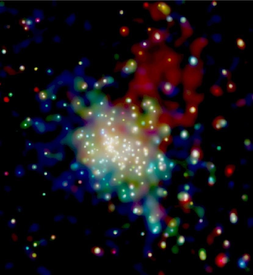 Imagem em raios-X do aglomerado estelar RCW 38 obtida pelo Chandra