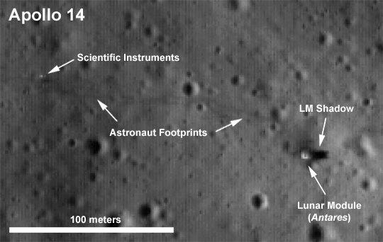 Equipamentos deixados na Lua pela missão Apollo 14 . Repare nos riscos que que são as pegadas do astronautas ('astronaut foorprints'). Crédito: NASA/LROC