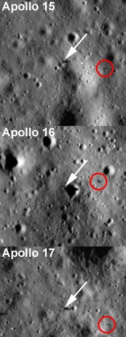 Imagems do locais de pouso das Apollos 15, 16 e 17. Para cada imagem a seta branca indica a base do módulo lunar e o círculo vermelho mostra o local onde foi deixado o veículo de transporte lunar, o 'lunar rover'. Largura das fotos: 384, 256 e 359 metros. (Crédito: Ian Regan)