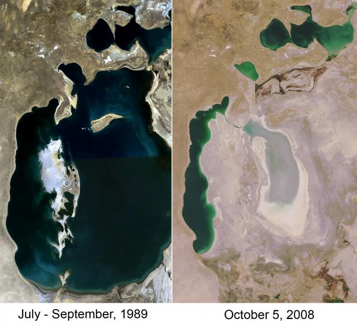 Mar do Aral em 1989 X 2008