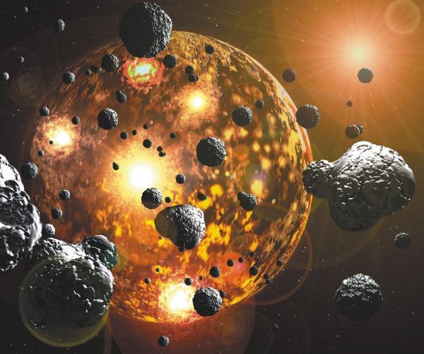 O grande bombardeamento posterior foi responsável pela criação da atmofera terrestre? Crédito: Julian Baum