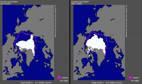 Comparação da capa de gelo no Ártico no mês de setembro, nos anos de 2007 e 2005.