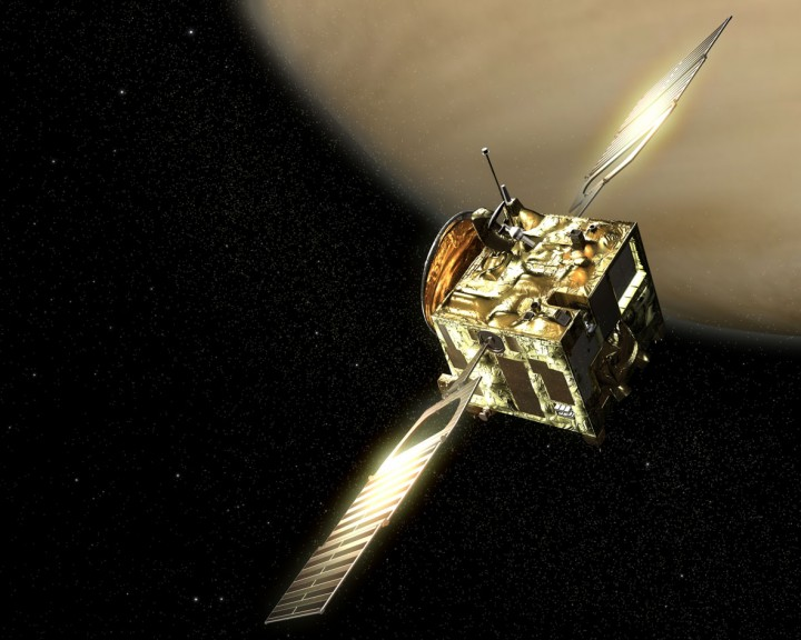 Impressão artística da sonda Venus Express. Crédito: ESA (imagem por AOES Medialab)