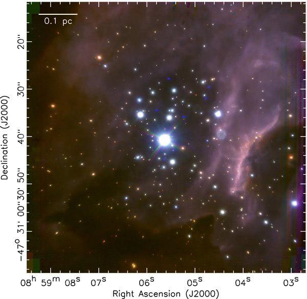 Imagem em infravermelho (em cor falsa) do massivo berçário estelar RCW 38, onde 317 estrelas jovens foram recentemente classificadas. Crédito: DeRose et al., / ESO.
