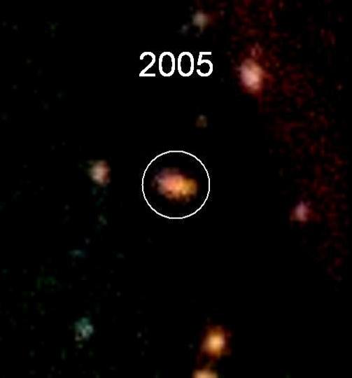 Imagem obtida pelo Canada-France-Hawaii Telescope mostra a galaxia hospedeira da supernova e suas galáxias vizinhas em 2005. Imagem fornecida por UC Irvine e Jeff Cooke.