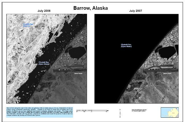 Variação da camada de gelo em Barrow, Alasca, EUA de 2006 a 2007 (imagem altamente polêmica que está sendo criticada). Crédito: US Geological Survey