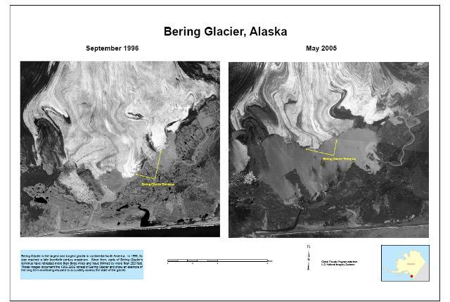 Perda da camada de gelo na geleira de Bering. Crédito: USGS