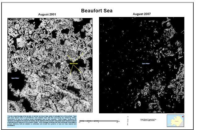 Variação da camada de gelo no mar de Beaufort. Crédito: USGS