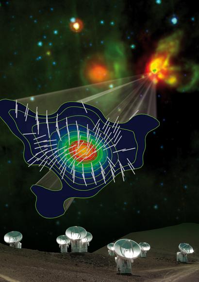 Imagem de artista do conceito da influência magnética na formação estelar. Crédito: Image courtesy of Manel Carrillo, Josep Miquel Girart (CSIC-IEEC), Nimesh Patel (SMA), Spitzer. Fonte: Universe Today