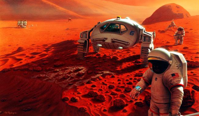 Concepção artística dos possíveis programas de exploração em Marte. Depois de dirigir uma curta distância desde o campo de pouso no Ganges Chasma em Marte, dois exploradores param para inspecionar a nave robótica de pouso e seu pequeno jipe. Esta parada estratégica também permite que a tripulação em trânsito faça a verificação dos sistemas de suporte à vida do seu veículo de transporte bem como os seus trajes espaciais ainda dentro de uma distância limítrofe que permite um retorno a pé para a base. Créditos: Pat Rawlings/NASA