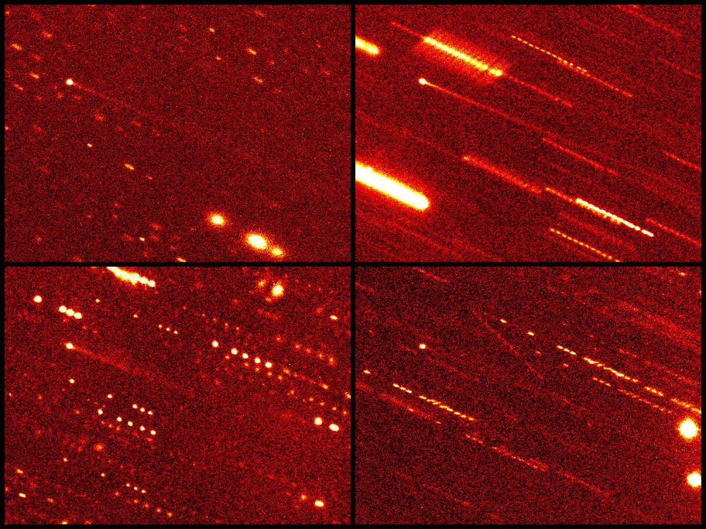 """133P/Elst-Pizarro, fotografado em 2002, nos dias: 19 de agosto,07 de setembro, 05 a 07 de novembro e 27 de dezembro pelo telescópio 2.2-metros em Mauna Kea da Universidade do Havaí usando uma CCD Tektronix 2.048 X 2.048 pixels (escala 0,219""""/pix). Crédito Henry Hsieh e David Jewitt do Instituto de Astronomia da Universidade do Havaí."""
