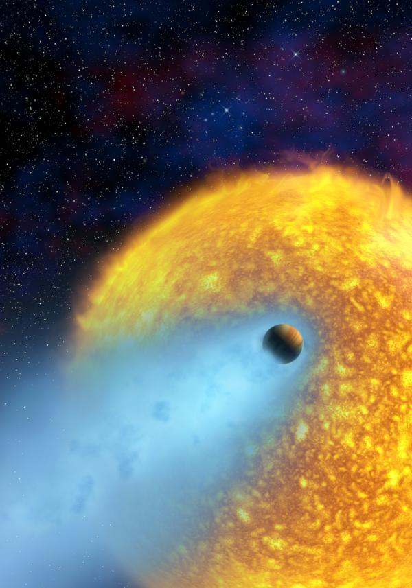 Visão artística mostra um exoplaneta tipo 'Júpiter Quente' que orbita bem próximo de sua estrela mãe.