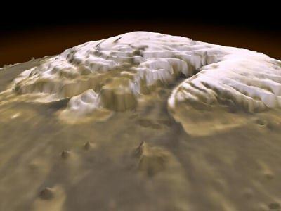 Visão em 3D da calota polar em Marte