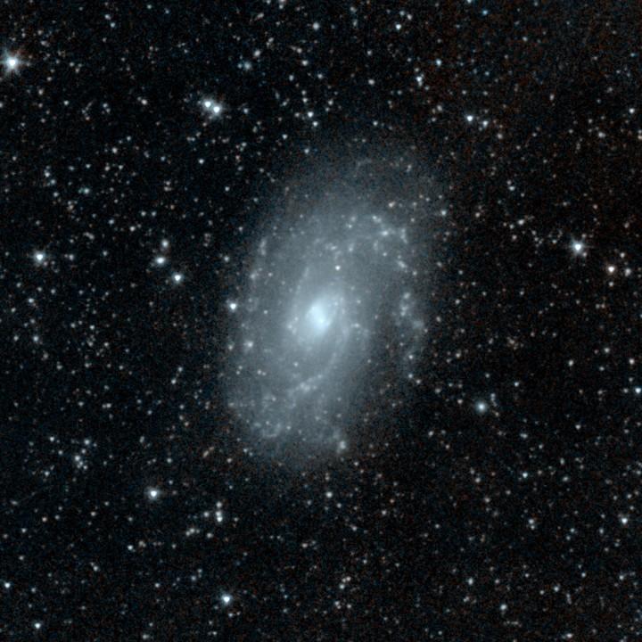 Spitzer revela a galáxia espiral barrada NGC 4145, com baixa formação estelar, trata-se de uma galáxia 'calma' na constelação de Canes Venatici, 68 milhões de anos-luz da Terra.